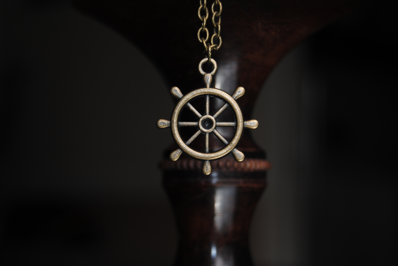 Bronze Ship Wheel Necklace