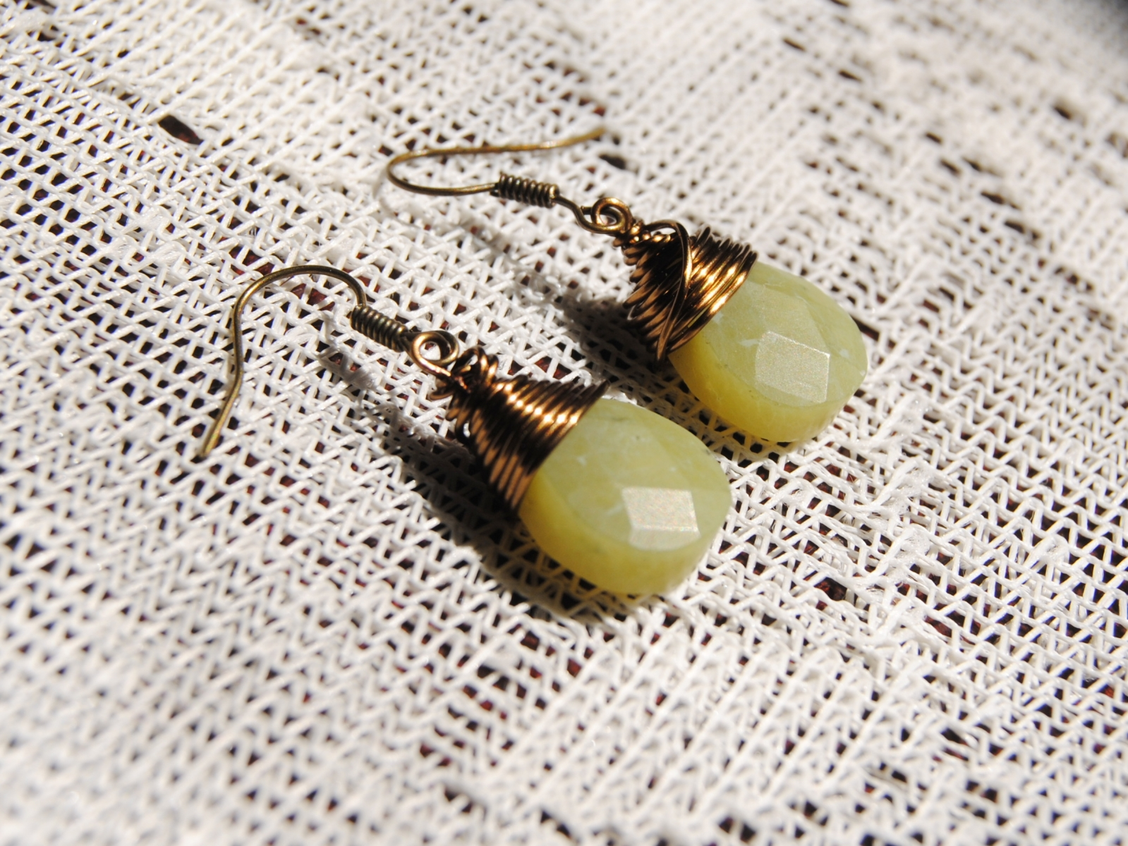 Lemon Jade Teardrop Earrings